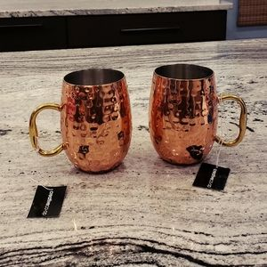 Textured Stainless Steel Moscow Mule Mug Set